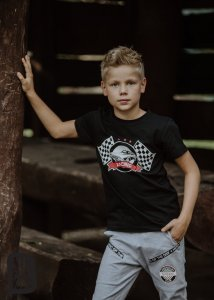 T-shirt dzianinowy RACING / czarny All for Kids
