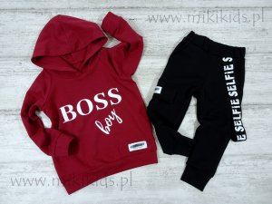 Bluza kangurka BOSS BOY / bordowa MIKOO KIDS