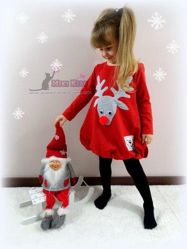 b1da8c81c0 Sukienka bombka czerwona Renifer MIKI KIDS